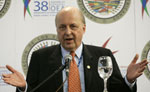 Deputy Secretary Negroponte answers questions during a news conference at the 38th OAS General Assembly in Medellin, [© AP Images]