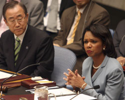 Secretary Rice speaks at the United Nations in New York on June 19, 2008.  UN Image.