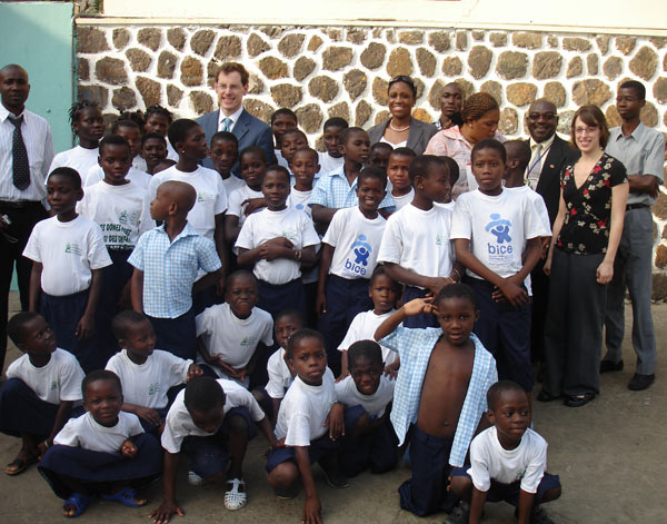Ambassador Mark P. Lagon at the BICE School and shelter for children vulnerable to human trafficking in Cote d'Ivoire in February 2008. State Department photo.