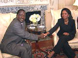 Kenyan PM Raila Odinga and Secretary Rice shake hands prior to their meeting at State Department on June 18, 2008.  State Dept. photo.