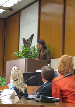 Secretary Rice gives remarks at the Senior Roundtable for Womens Justice held at the State Department in March 2008. State Department image.