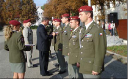 Ambassador Graber awards medals to five soldiers of the Special Forces unit at Czech military base, October 2, 2007.  [With permission from the Czech Armed Forces]