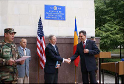 U.S. Ambassador Michael Kirby and Moldovan Defense Minister Vitalie Vrabie at the opening of the Peacekeeping Training Center, October 5, 2007. [John Balian, U.S. Embassy Chisinau]