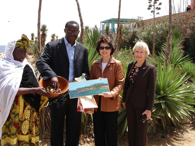 Ambassador Jacobs with Secretary Elaine Chao in Senegal.  State Department photo.