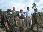 U.S. Embassy Charg� d�Affaires Paul Jones (second from right) toured the site of the February 17 mudslide in St. Bernard, Leyte with Senator Dick Gordon, head of the Philippines Red Cross (center); Lt. Gen. Samuel Bagasin (far left) army chief from the 4th Infantry Division, Armed Forces Philippines; and U.S. Marine Brig. Gen. Mastin Robeson from the 3rd Marine Expeditionary Brigade, Okinawa, Japan.  The U.S. Government has diverted U.S. Military personnel and supplies from the annual Balikatan joint military exercises to the Leyte area in order to assist with disaster relief operations for mudslide victims.