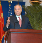 Secretary Powell held a press briefing after meetings with Chinese leaders.  State Department Photo.