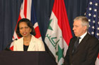 Secretary Rice and British Foreign Secretary Jack Straw speaking at a press conference in Baghdad, Iraq. DoD photo