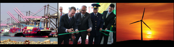 Left to right: Ships unloading at post [AP/WWP] ; A/S Sullivan and officials from Turkmenistan and Afghanistan cut the ribbon at the opening of a new border crossing post between the two countries, a concrete manifestation of Secretary Rice's vision to promote regional economic integration and prosperity in South-Central Asia ; Windmills [AP/WWP]