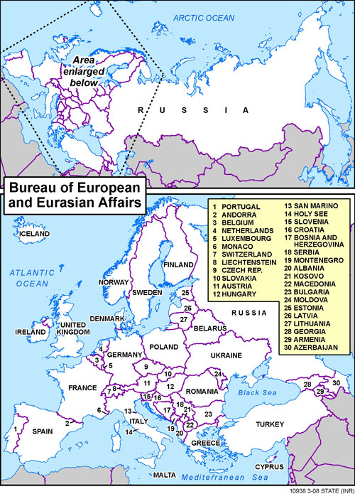 Map of Europe and Eurasia