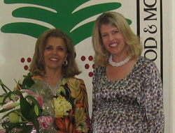 Andrea Bottner congratulates Ambassador Moushira Khattab, president of Egypt's National Council on Childhood and Motherhood, as a recipient of the 2008 U.S. Secretary of State's International Women of Courage Award. [Photo courtesy of May Abdeldayem, U.S. Embassy in Cairo, July 15, 2008]
