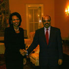 Secretary Rice with Prime Minister Meles Zenawi at Ethiopias National Palace.