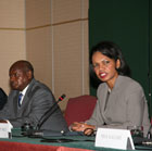 Secretary Rice, Ugandan President Yoweri Museveni and DROC Minister of State for Interior Denis Kalune brief the press in Addis Ababa
