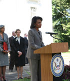 Secretary Rice addresses Mission employees in Addis Ababa.