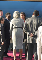 Secretary Rice greets Ethiopian leaders and Ambassadors Yamamoto and Courville on arrival in Addis Ababa.