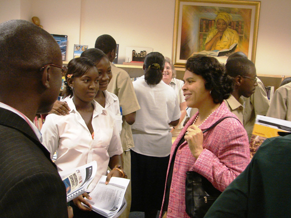 Ambassador Nesbitt talks with students during International Education Week.