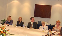 Andrea Bottner, Director, Office of International Womens Issues, far left, listens intently during her visit to Mexico to learn more about violence against women.  State Dept image.