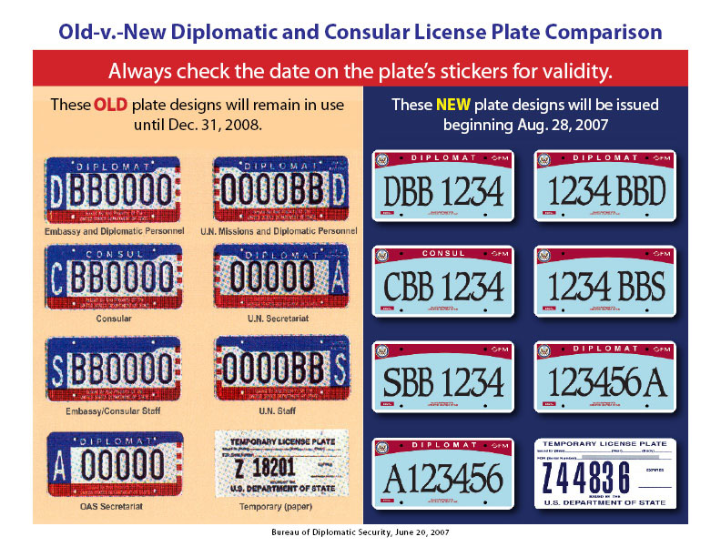 Old v new diplomatic and consular license plate for Consul license