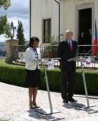 Secretary Rice and Czech Prime Minister Mirek Topolanek during the Press Statements at the PM's Residence Kramarova Villa.  Photo by Lisa Fife, U.S. Embassy