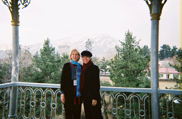 Senior Coordinator for International Womens Issues, Charlotte Ponticelli in Kabul February 2004 with counterpart, Zohra Raseck, from the Afghan Foreign Ministry.