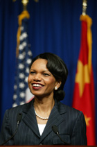 Secretary Rice speaks to the press in Beijing, China
