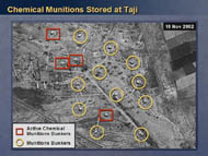 slide 12 aerial photo of chemical munitions storage sites at Taji