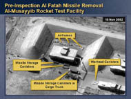 slide 14 aerial photo of pre-inspection al fatah missile removal at al-musayyib rocket test facility