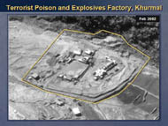 slide 39 aerial photo of terrorist poison and explosives factory in Khurmal