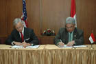 Under Secretary Reuben Jeffery III and PTPN III Director Siregar sign U.S. Trade and Development Agency Biofuel Grant Memorandum of Understanding, September 10, 2007, in Jakarta, Indonesia.