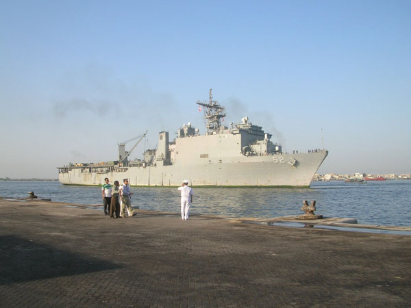 U.S. Naval Ship arrives into Pakistan with relief and reconstruction supplies. The United States government is participating in a multinational humanitarian assistance and support effort lead by the Pakistani Government to bring aid to victims of the devastating earthquake that struck the region October 8, 2005.  Photo by U.S. Military.