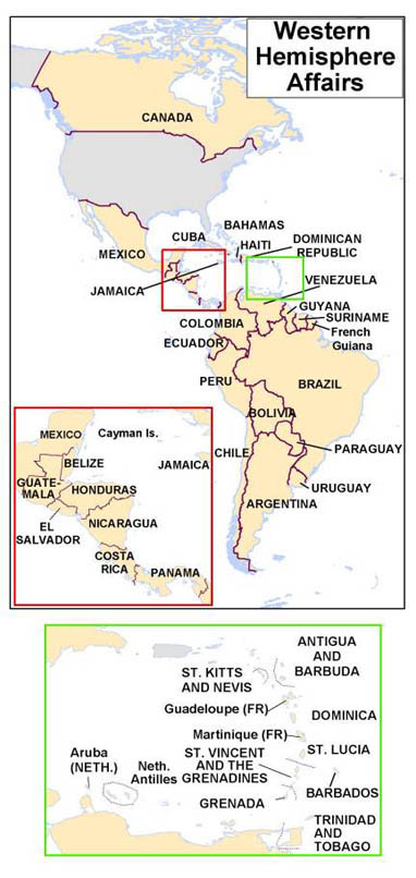 Map of Western Hemisphere