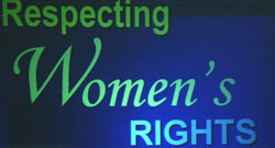 Respecting Women's Rights banner (AP photo); Women's Justice and Empowerment Initiative homepage