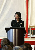 Secretary Rice talks about the close ties between Canada and the United States at a 9/11 commemoration ceremony at a Halifax Maritime Museum of the Atlantic. State Department photo
