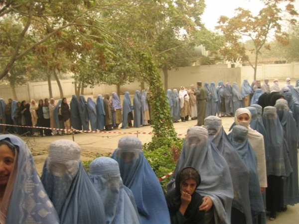 Women stand in line to vote in the Afghanistan elections. USAID Photo.