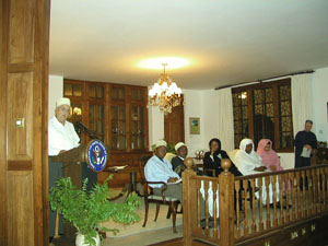 Pictured from left to right:  Ambassador Royall delivering his remarks at Dar Iftaar 11/12/2002. State Department photo,
