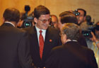 June 3, 2003, Madrid, Spain: Under Secretary Grossman, talking with NATO Secretary General, Lord Robertson. Photo Courtesy of NATO.