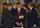 June 3, 2003, Madrid, Spain: ,Left to right, Mr. Jan Petersen, Minister of Foreign Affairs, Norway; Under Secretary Grossman; Mr. Jaap Hoop de Scheffer, Minister of Foreign Affairs, The Netherlands. Photo Courtesy of NATO