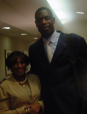 Dikembe Mutumbo speaking about his foundation and hospital [State Department Photo May 25]