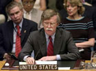 US Ambassador to the UN John Bolton speaks to the United Nations Security Council in New York July 14, 2006, about the conflict between Israel and Lebanon. REUTERS/Chip East ,UNITED STATES,