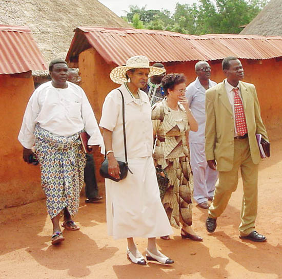 Ambassador Bridgewater tours site of a two-phase project to restore the royal tombs of King Guezo and the wives of King Agonglo at the Historic Museum of Abomey