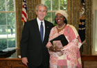 President Bush with Ambassador Amin Salum Ali of the African Union Mission, July 25, 2007, at the White House for a credentials ceremony for new ambassadors to the U.S. White House photo-Eric Draper