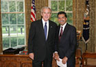 President Bush with Ambassador M. Humayun Kabir of the Republic of Bangladesh July 25, 2007, at the White House for a credentials ceremony for new ambassadors to the U.S. White House photo-Eric Draper
