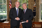 President Bush with Ambassador Erlan Idrissov of the Republic of Kazakhstan, July 25, 2007, at the White House for a credentials ceremony for new ambassadors to the U.S. White House photo-Eric Draper