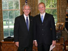 President Bush with Ambassador Andrejs Pildegovics of the Republic of Latvia, July 25, 2007, at the White House for a credentials ceremony for new ambassadors to the U.S. White House photo-Eric Draper