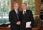 President Bush with Ambassador Zoran Jolevski of the Repuplic of Macedonia, July 25, 2007, at the White House for a credentials ceremony for new ambassadors to the U.S. White House photo-Eric Draper
