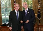 President Bush with Ambassador Mark Miceli-Farrugia of the Republic of Malta, July 25, 2007, at the White House for a credentials ceremony for new ambassadors to the U.S. White House photo-Eric Draper