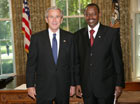 President Bush with Ambassador James Kimonyo of the Republic of Rwanda, July 25, 2007, at the White House for a credentials ceremony for new ambassadors to the U.S. White House photo-Eric Draper