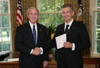 President Bush with Ambassador Paolo Rondelli of the Republic of San Marino, July 25, 2007, at the White House for a credentials ceremony for new ambassadors to the U.S. White House photo-Eric Draper