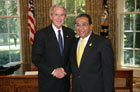 President Bush with Ambassador Krit Garnjana-Goonchorn of the Kingdom of Thailand 07-25-07 at the White House for a credentials ceremony for new ambassadors to the U.S. White House photo-Eric Draper