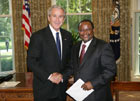 President Bush with Ambassador Ombeni Yohana Sefue of the United Republic of Tanzania 07-25-07 at the White House for a credentials ceremony for new ambassadors to U.S. White House photo-Eric Draper