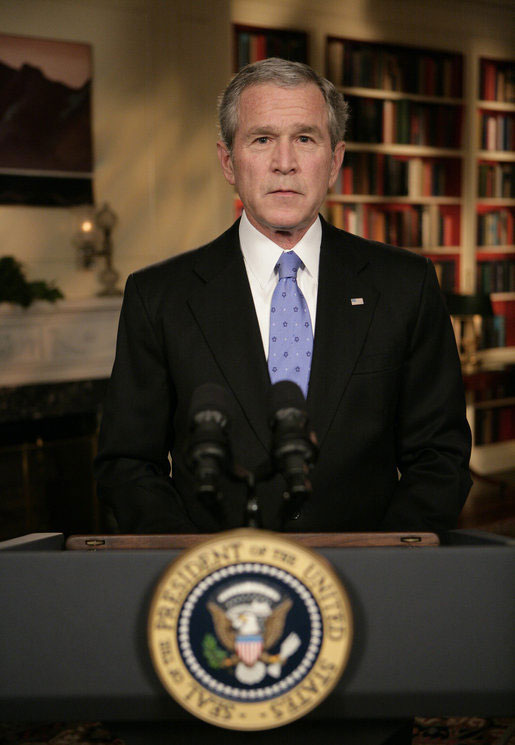 President George W. Bush concludes his address to the nation Wednesday evening, Jan. 10, 2007, from the White House Library, where he outlined a new strategy on Iraq. [White House photo by Eric Draper]